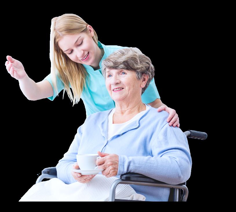 caregiver pointing something to senior woman